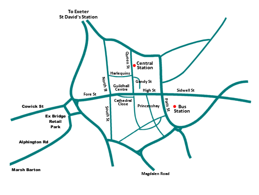 Exeter shopping area map